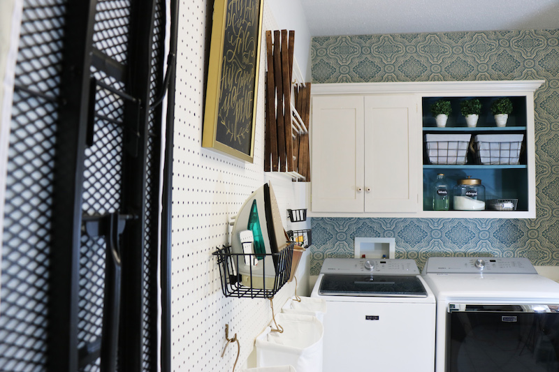 It's easy to hang pegboard for an easy and versatile laundry room storage solution