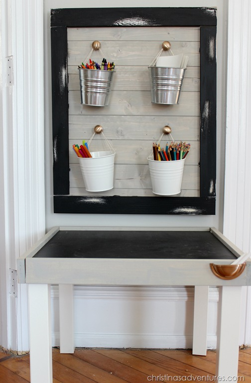add rope handles to IKEA buckets for storage in a kids art station by Christina's Adventures
