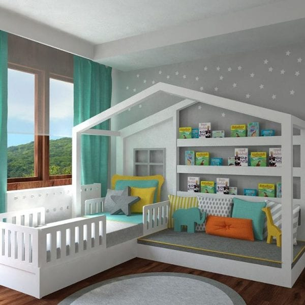 awesome house bed with reading area and kid-friendly bookshelves by crocodily