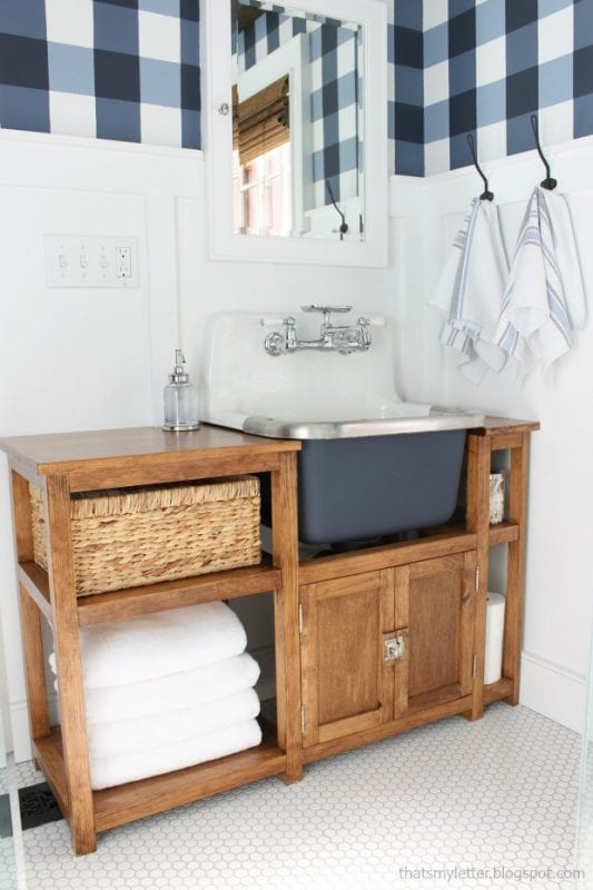bathroom makeover with wall-mount sink vanity, That's My Letter