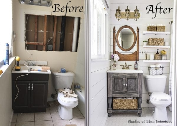 before and after bathroom renovation, Shades of Blue Interiors