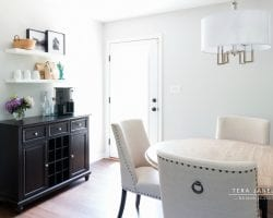 Beautiful neutral and cohesive grown-up style for an open plan dining room and living room | Tera Janelle Design - Dining Room Design Reveal for Remodelaholic.com