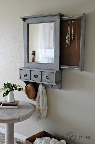 hidden jewelry storage wall mirror, Sawdust 2 Stitches