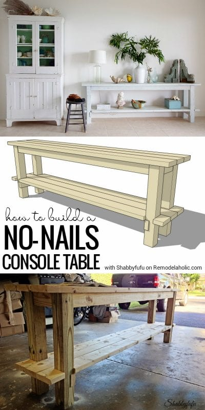 This smart no-nails console table is easy to build, and easy to disassemble for easy moving and transportation, making it ideal for renters, military families, vacation homes, or even parties. Plus, the layered milk paint finish makes it perfect! Get the details from Shabbyfufu on Remodelaholic.com