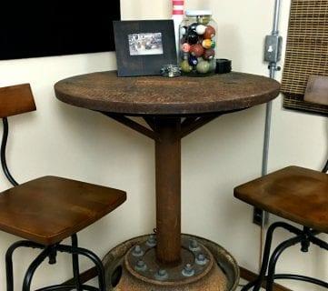 Salvaged DIY Industrial Bar Table