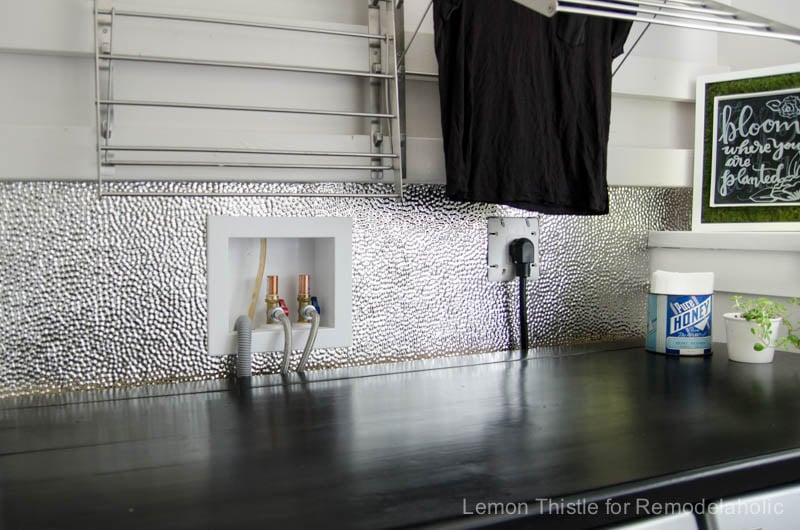 How to install a metal (steel) ceiling tile backsplash