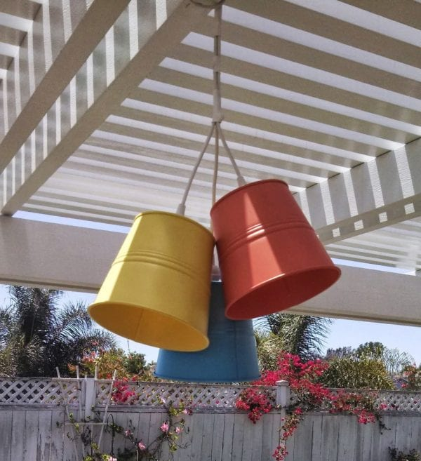 patio lights made from cheap metal buckets from IKEA via ikeahackers