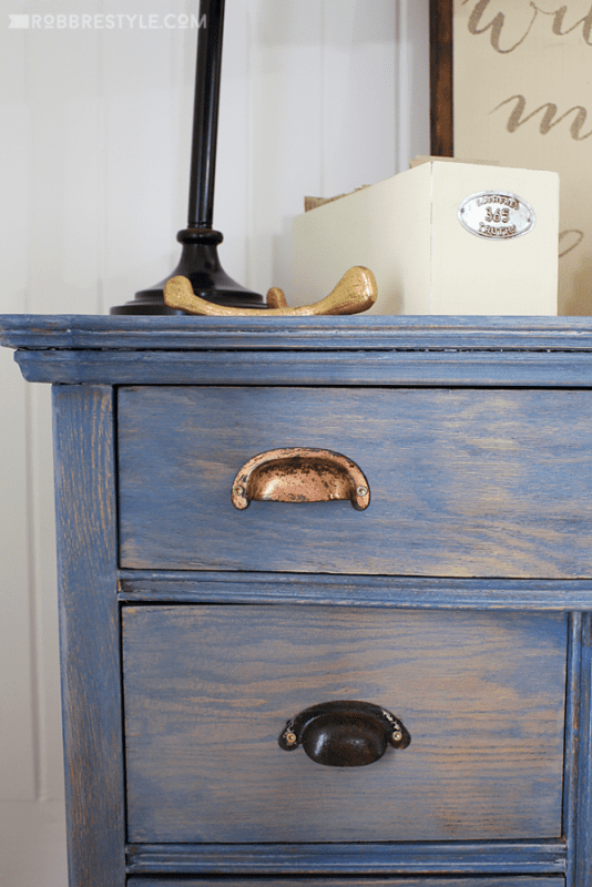 soft blue paint-stained nightstand by Robb Restyle