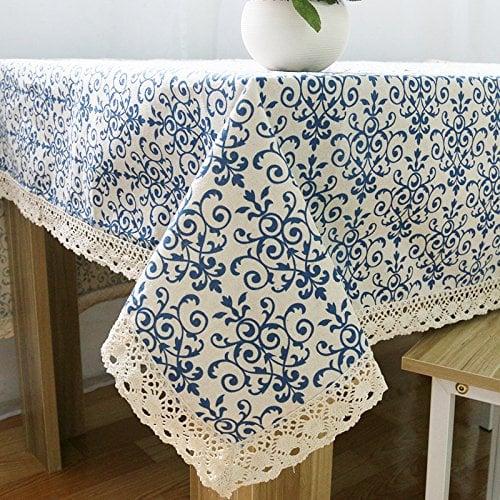 tablecloth blue scroll pattern