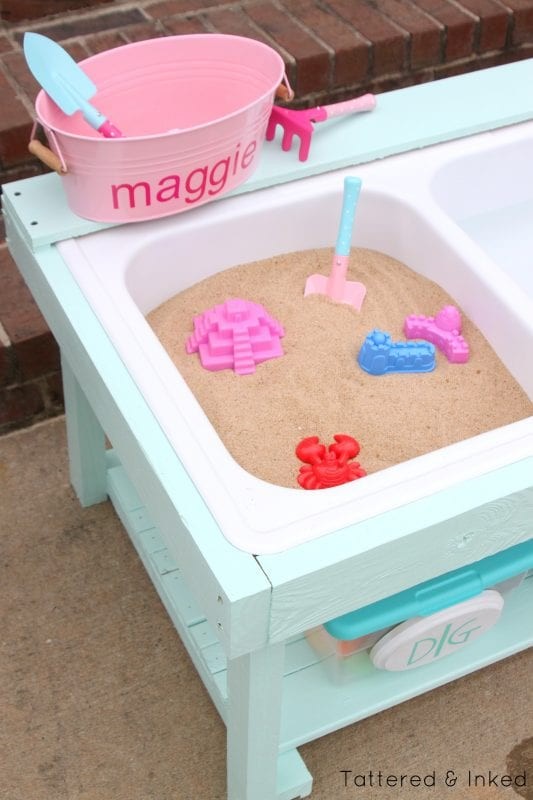 DIY Sand And Water Table For Under $50! By Tattered And Inked Featured On @