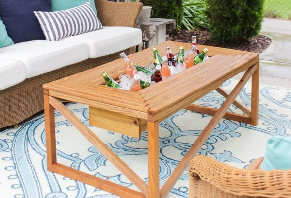 Build a patio coffee table with a built-in cooler, by Shades of Blue Interiors