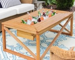 Build a patio coffee table with a built-in cooler, by Shades of Blue Interiors feat