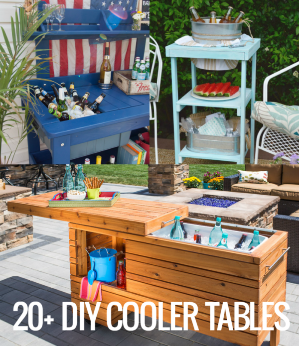 Stay cool this summer with these DIY cooler tables, featuring built-in