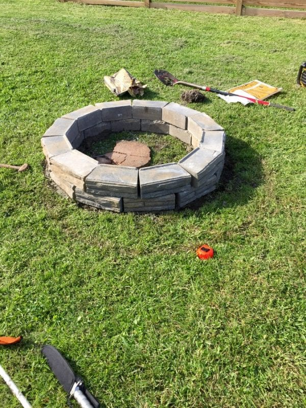 diy retaining wall block fire pit tutorial less expensive than a kit