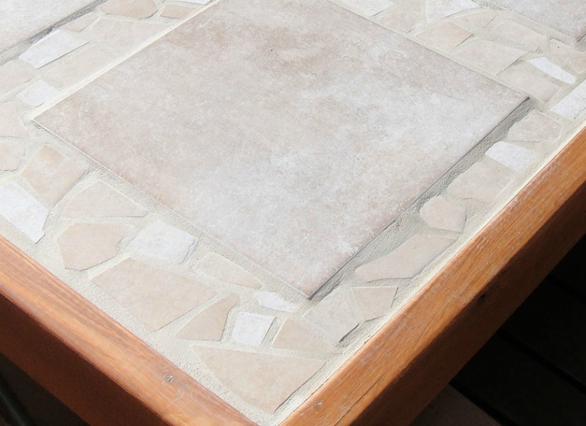 Remodelaholic How To Replace A Patio Table Top With Tile - How To Replace Glass Patio Tabletop With Tile