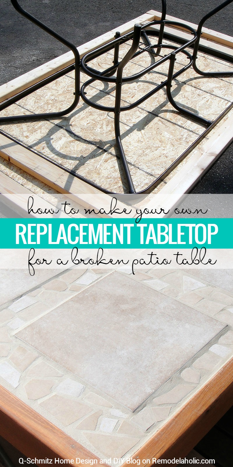 remodelaholic how to replace a patio table top with tile. Black Bedroom Furniture Sets. Home Design Ideas
