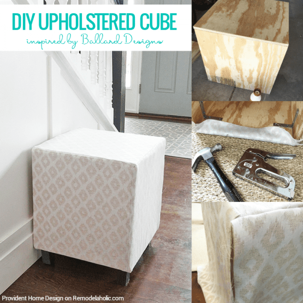 DIY upholstered cube ottoman or stool, Provident Home Design on @Remodelaholic