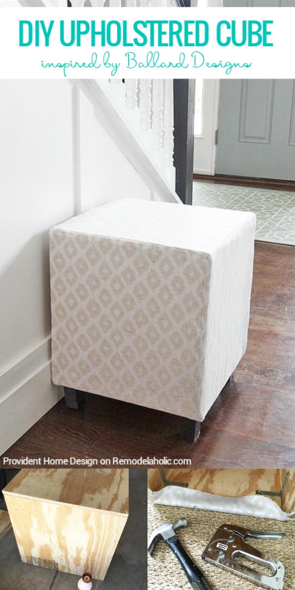 Remodelaholic Ballard Designs Inspired Upholstered Cube