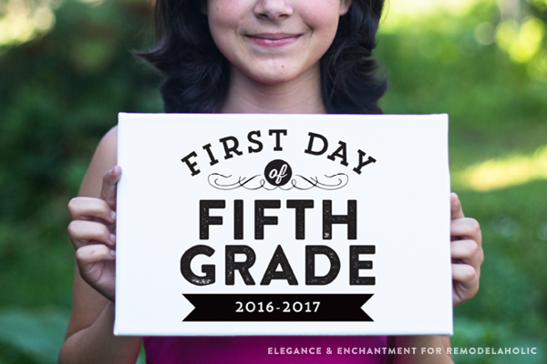 Commemorate the first day of school with the traditional photo and these free printable signs, sized 8 x 10 for the first day of school— from pre-school to 12th grade. Design by Elegance and Enchantment for Remodelaholic.