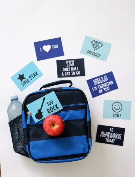 Get this free set of eight cute lunch box notes to brighten your child's day. Free printable at Remodelaholic.com