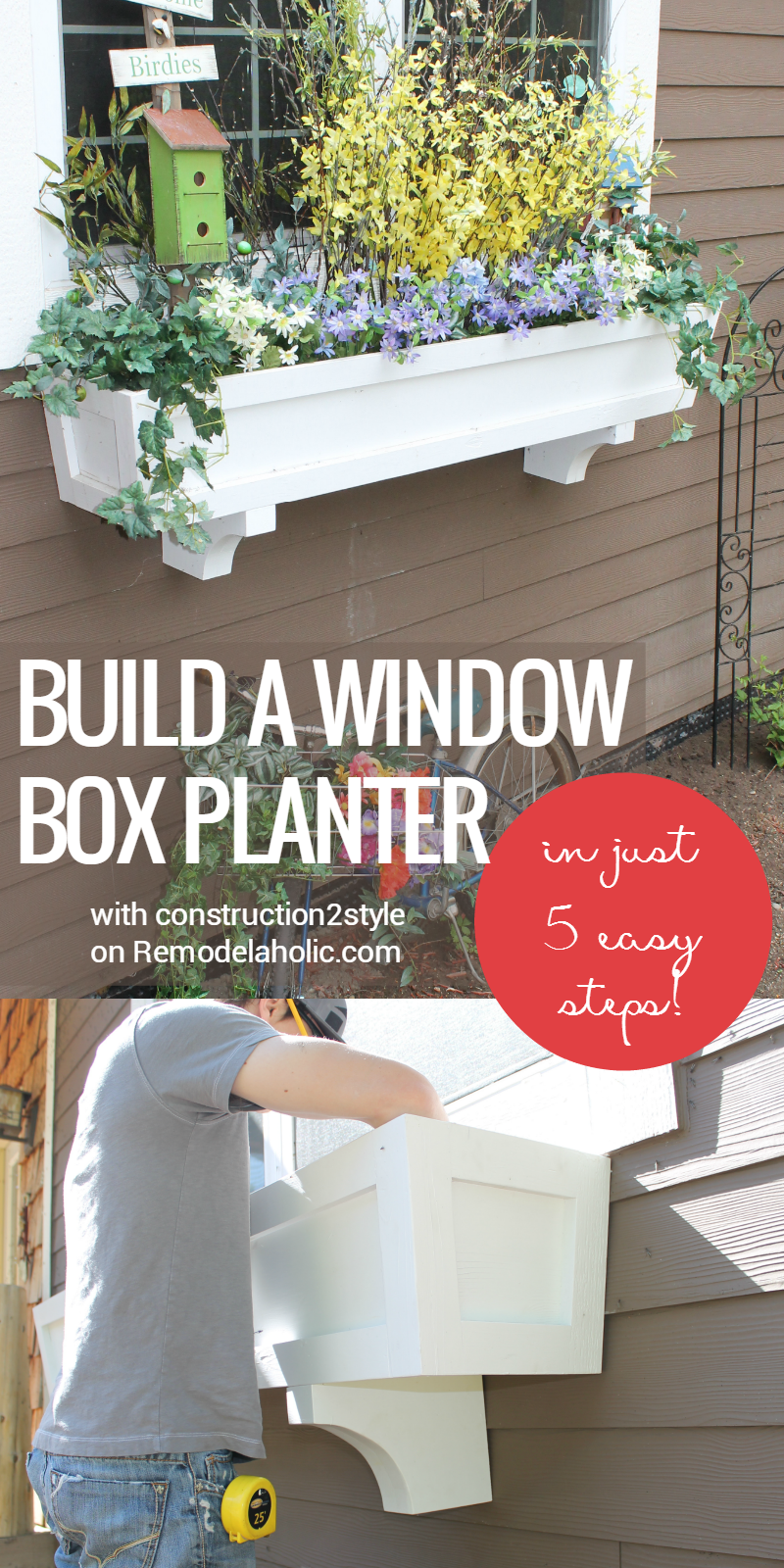 remodelaholic how to build a window box planter in 5 steps. Black Bedroom Furniture Sets. Home Design Ideas