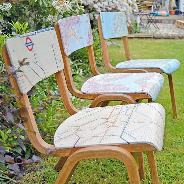 diy map chairs PillarBoxBlue