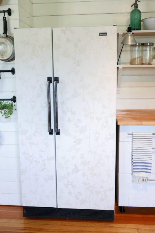 diy wallpapered fridge, This Mama's Dance