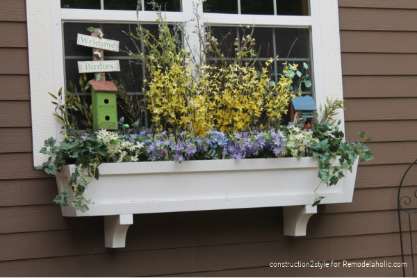 Diy Window Box Planter With Fake Flowers And Birdhouses, Add Curb Appeal