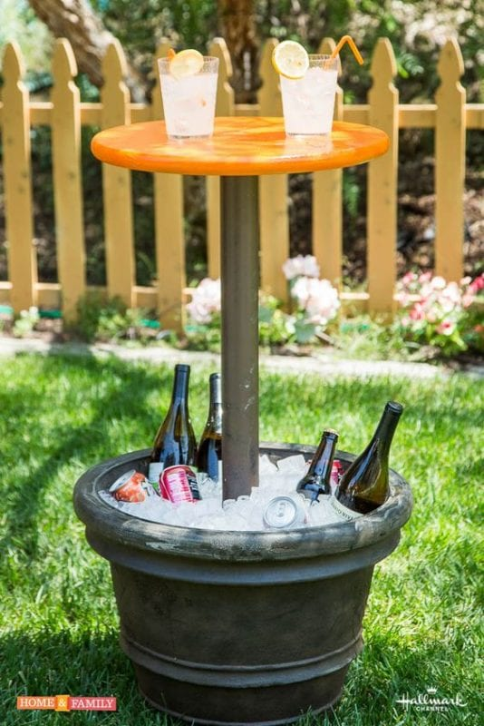 diy cooler table from a planter