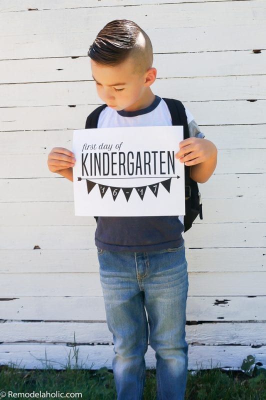 It's back to school time! Capture the moment with these easy and free printable first day of school signs. Just print and snap the picture! From Remodelaholic.com