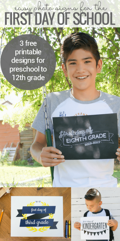 free printable first day of school signs pre-12 @Remodelaholic