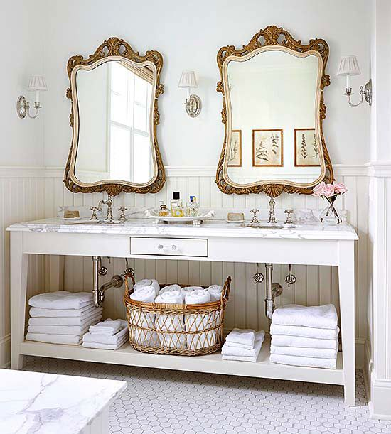 Neutral Double Vanity, gray bath inspiration