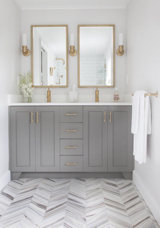 Gray and Brass Bathroom