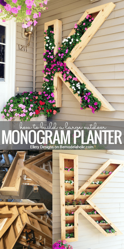 Extra large monogram planter. Built with weather resistant cedar. Woodworking plans for different alphabet letters. #Remodelaholic