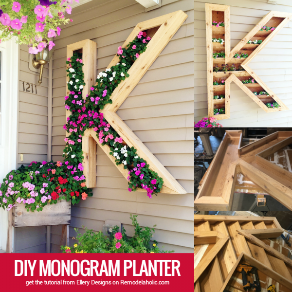 large outdoor DIY monogram letter planter by Ellery Designs on @Remodelaholic
