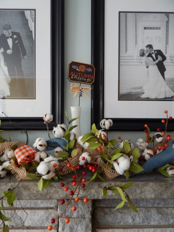mantel fall to summer with cotton boll garland, Pender and Peony