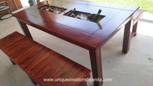 Patio Table With Built In Ice Boxes By Unique Creations By Anita, @Remodelaholic