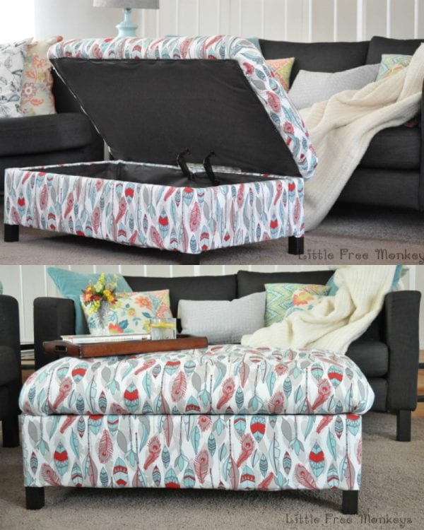 DIY storage ottoman, Little Free Monkeys