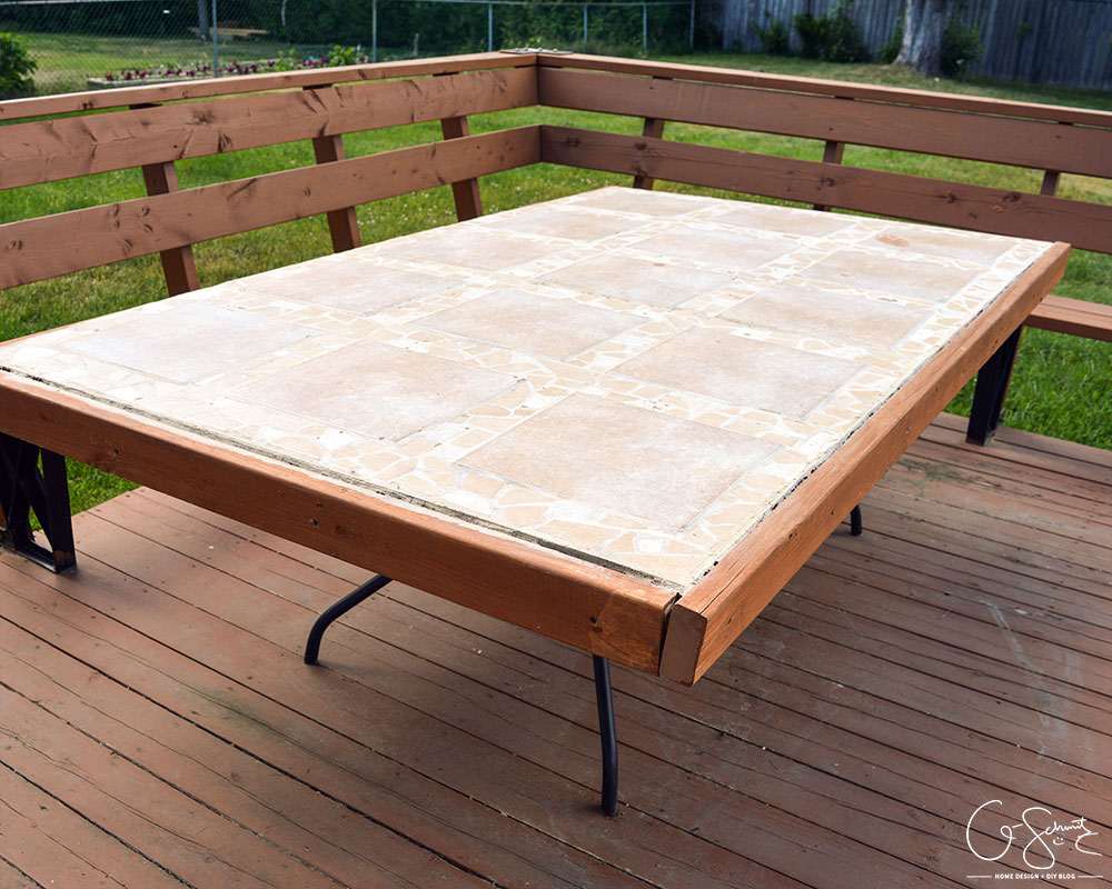Whew Source Remodelaholic How To Replace A Patio Table Top With Tile