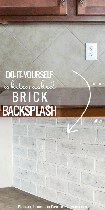 This whitewashed (faux) brick backsplash is the perfect EASY way to cover up a dated tile backsplash. I love how it looks in Lauren's finished white farmhouse kitchen! Tutorial on Remodelaholic.com