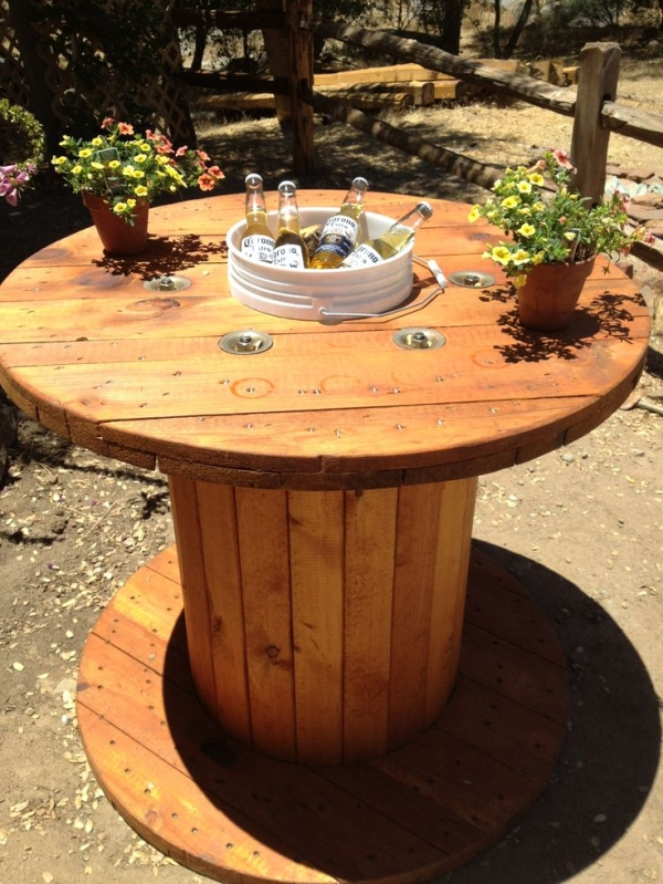 Wood Spool Table With Bucket In The Center For Drink Cooler, Original  Source Unknown,