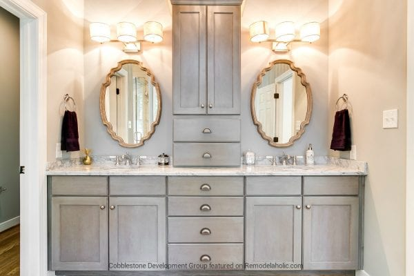 1980's Master Bathroom Sink and Vanity Renovation, Fendall Home Renovation, Cobblestone Development Group featured on @Remodelaholic