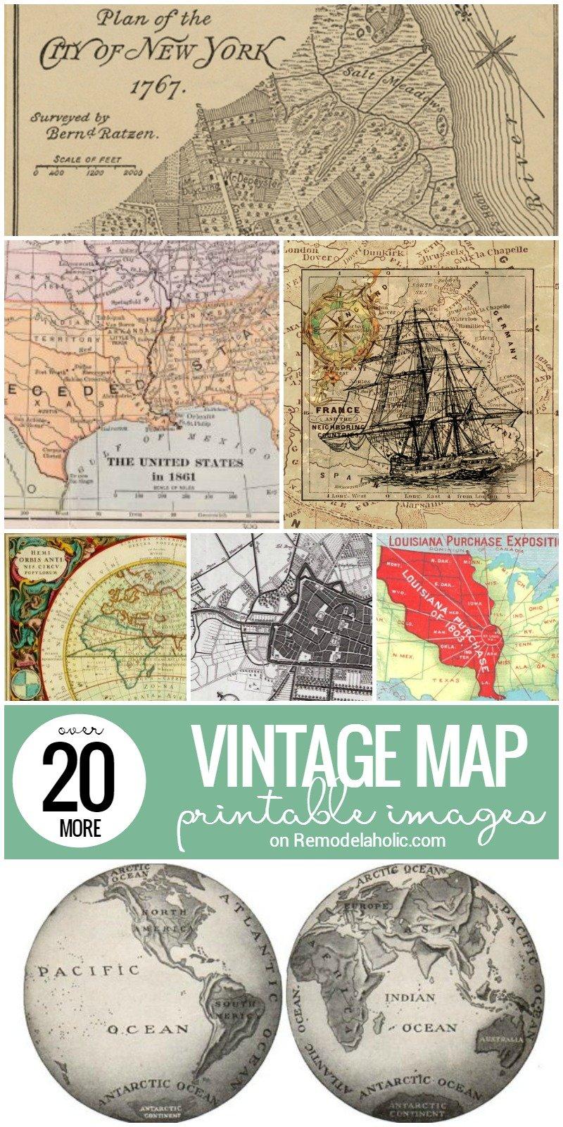 remodelaholic 20 more free printable vintage map images