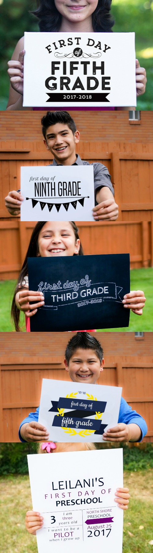 First Day Of School Printable Photo Signs, 5 Different Styles, Free Download And Custom Print From @Remodelaholic