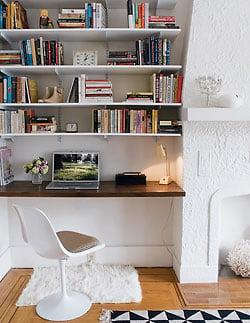 Awkward Alcove Solution: Add floating shelves (and a desk!) | More ideas at Remodelaholic.com | Image Source: elledecor.com