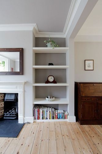 Awkward Alcove Solution: Add floating shelves | More ideas at Remodelaholic.com