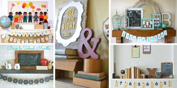 Dress up your home for August and September with a fun back to school mantel featured on Remodelaholic.com