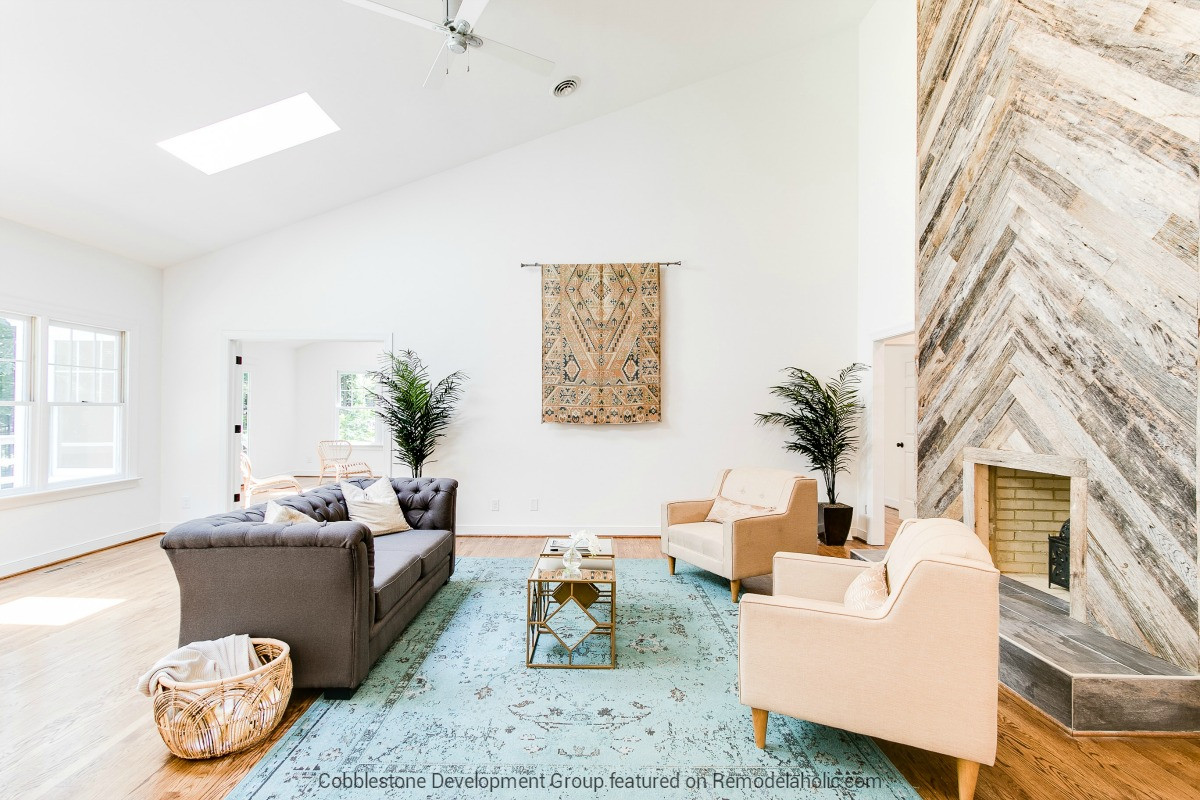 home renovation design. Beautiful 1980 s Open Living Room Renovation with Herringbone Wood  Fireplace Fendall Home Cobblestone Remodelaholic Before After From Dated to