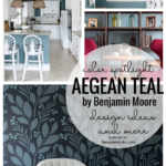 Color Spotlight: Aegean Teal by Benjamin Moore. There are so many great ways and places to use this beautiful rich teal color that balances well with either warm or cool colors. Learn more featured on Remodelaholic.com