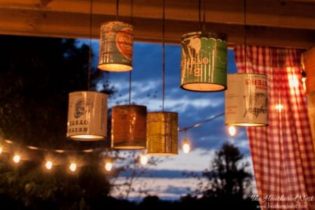 DIY coffee can chandelier-upcycled oyster can pendant light www.heatherednest.com-1